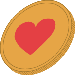 Heart coin icon