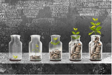 Photo shows the concept of growing savings with a plant in bottles at various stages of growth.