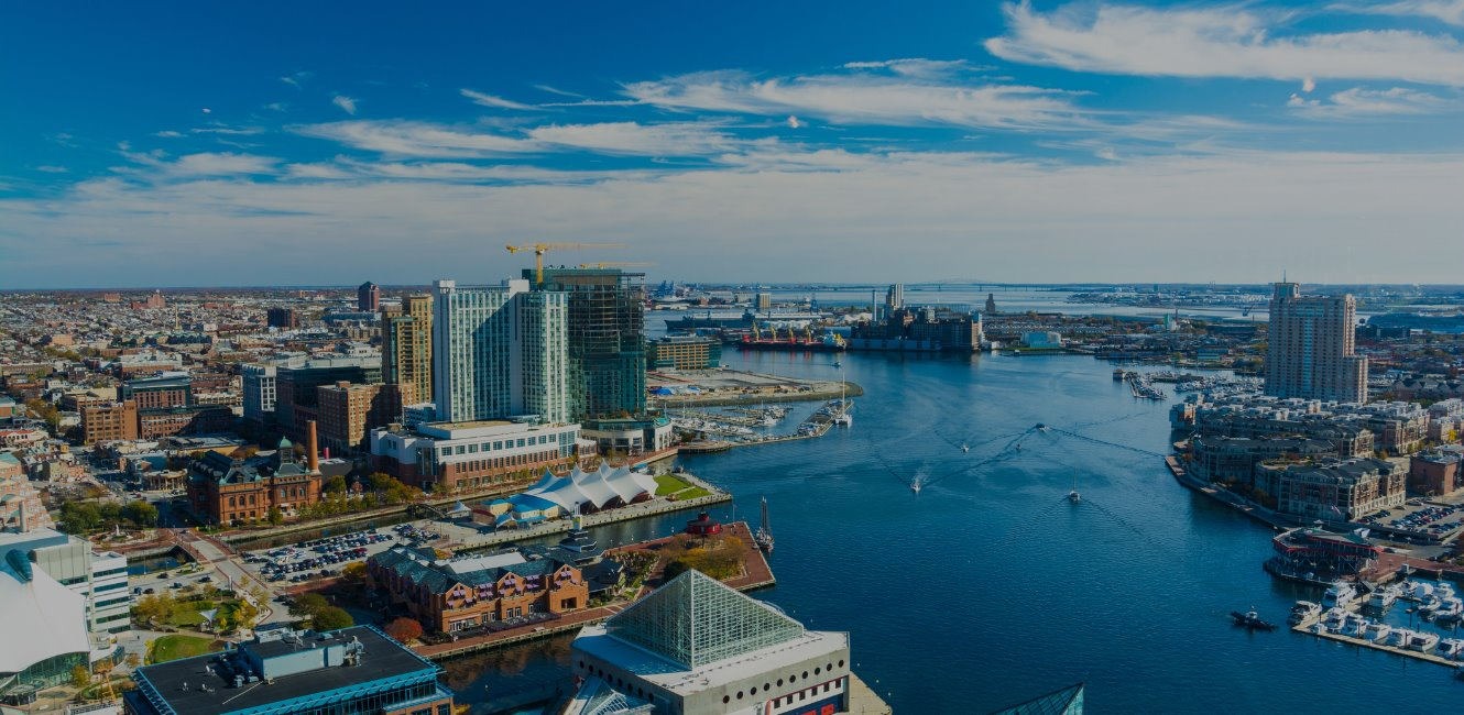 Aerial view of baltimore waterfront